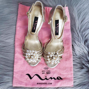 Nina || Gold Ankle Strap Heels with Rhinestones